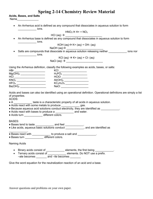 small resolution of Chemistry Acids And Bases Worksheet - Nidecmege