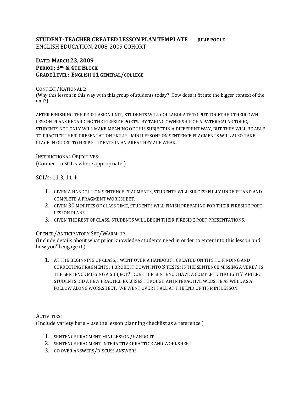 Sentence Fragments Worksheet Answers