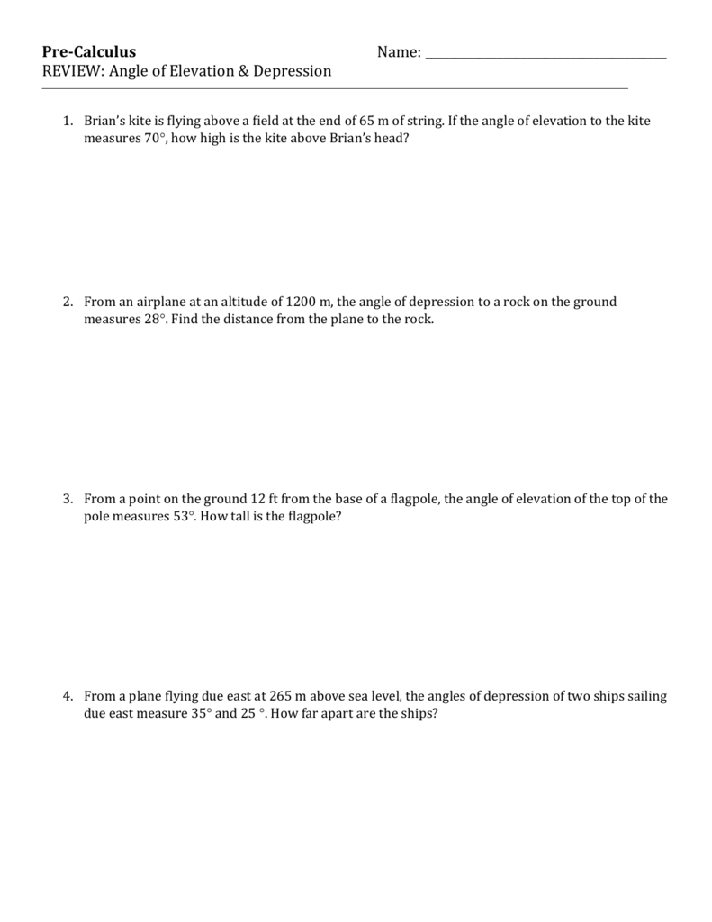 medium resolution of Angle Of Elevation Depression Trig Worksheet - Nidecmege