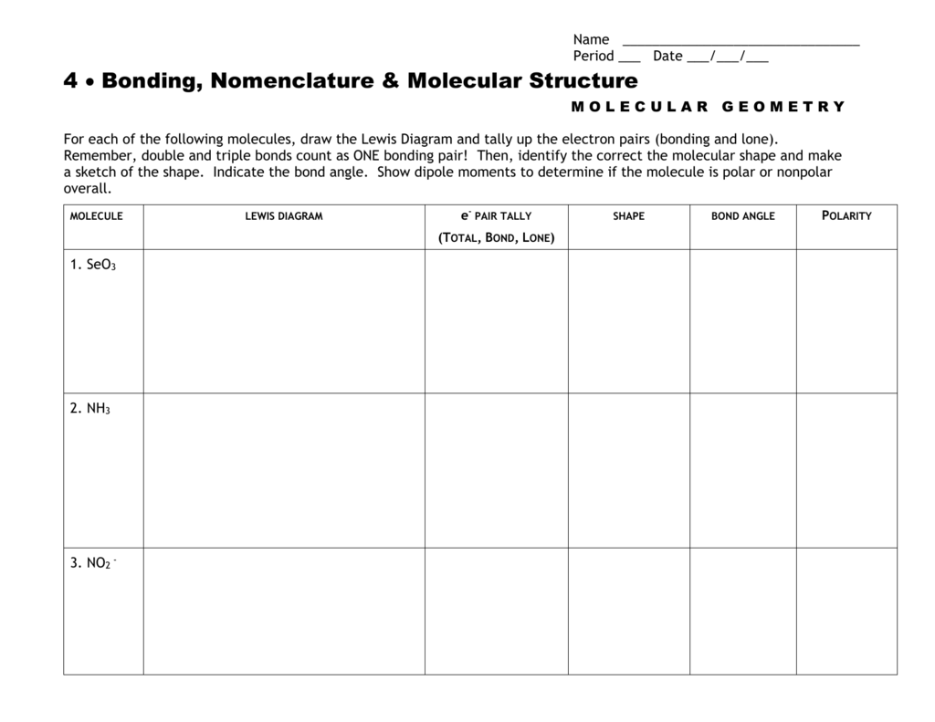 Molecular Geometry Worksheet Blank