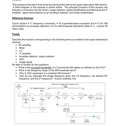 eeele445 lab 8 am superheterodyne receiver purpose the purpose of this lab to look at the functions performed by the super heterodyne am receiver a block  [ 791 x 1024 Pixel ]
