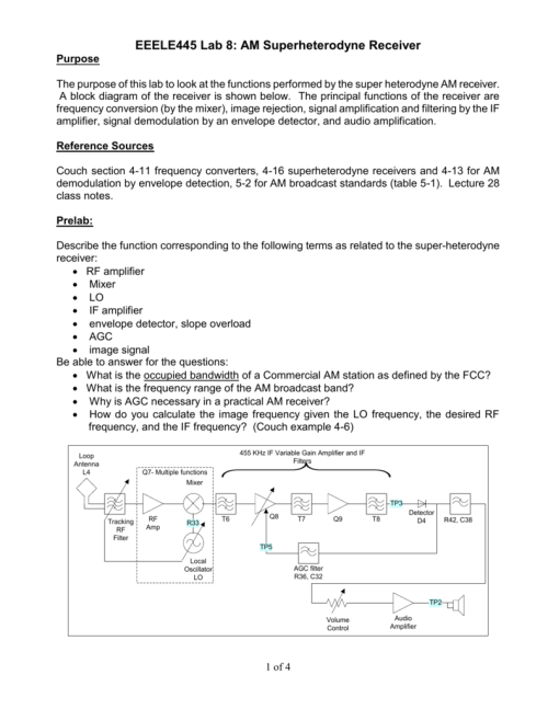small resolution of eeele445 lab 8 am superheterodyne receiver purpose the purpose of this lab to look at the functions performed by the super heterodyne am receiver a block