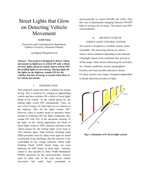small resolution of street lights that glow on detecting vehicle movement ayush garg microcontroller to switch on off the leds thus this way of dynamically changing intensity