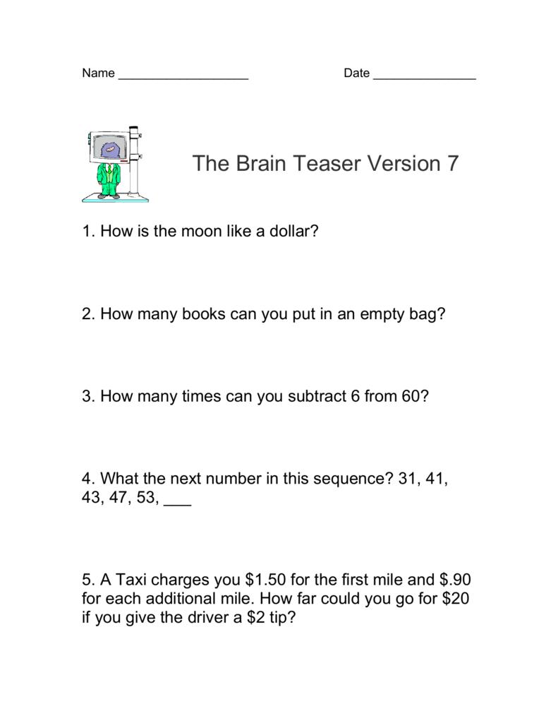 medium resolution of Math Brain Teasers