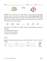 Measuring Units Worksheet Answer Key Science. Measuring ...