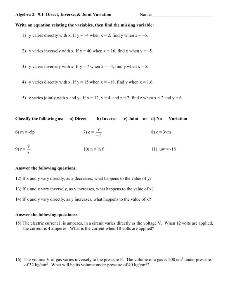 medium resolution of Direct Inverse And Joint Variation Worksheet - Nidecmege