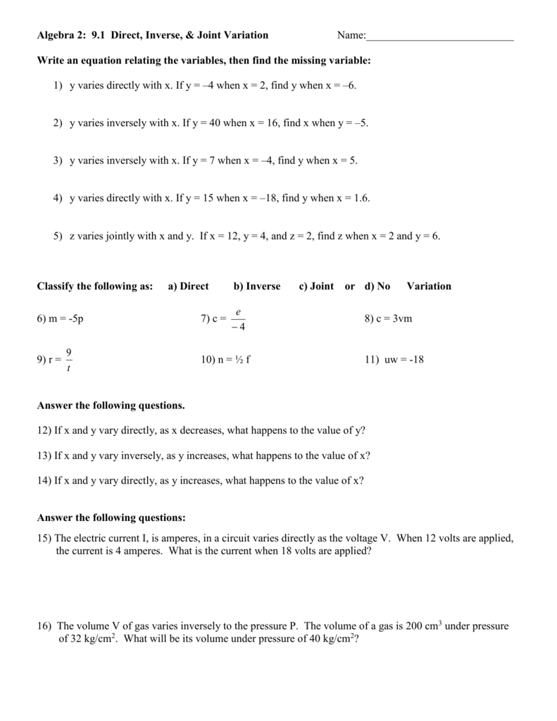 hight resolution of Direct Inverse And Joint Variation Worksheet - Nidecmege