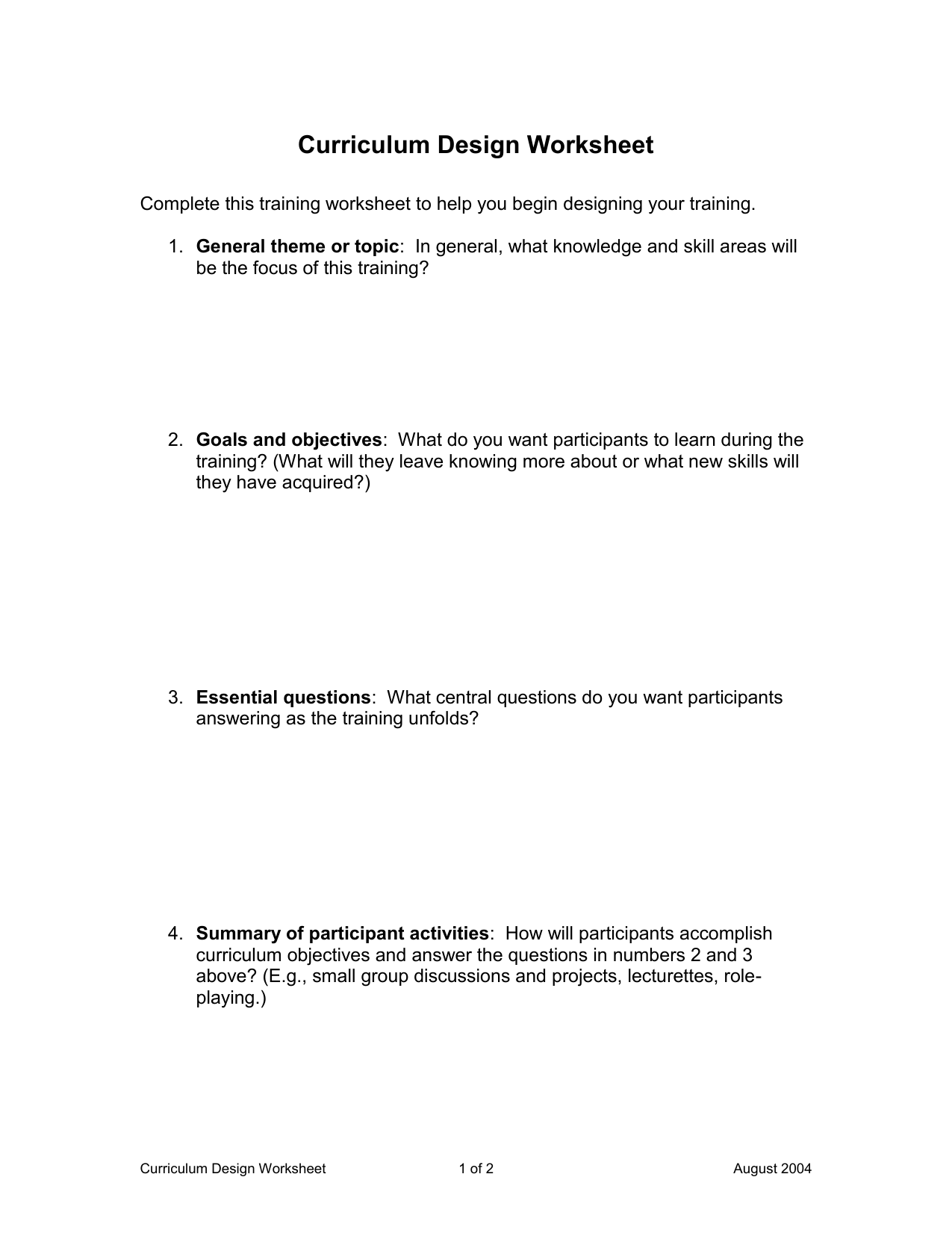 Curriculum Design Worksheet