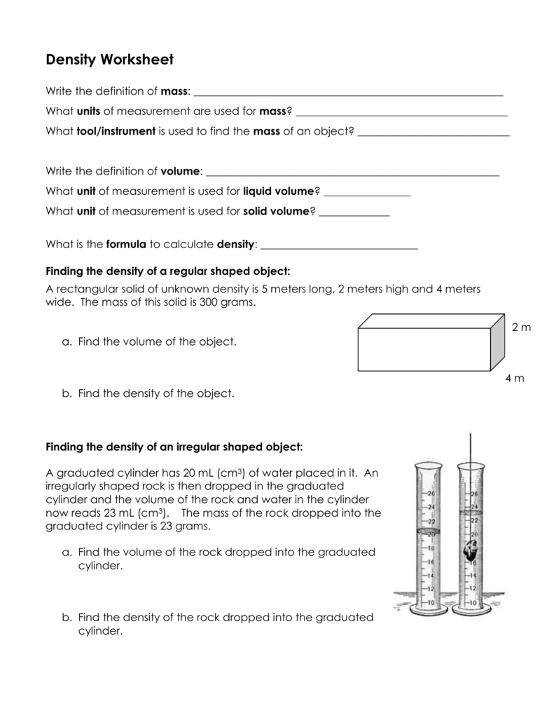hight resolution of Density Worksheet