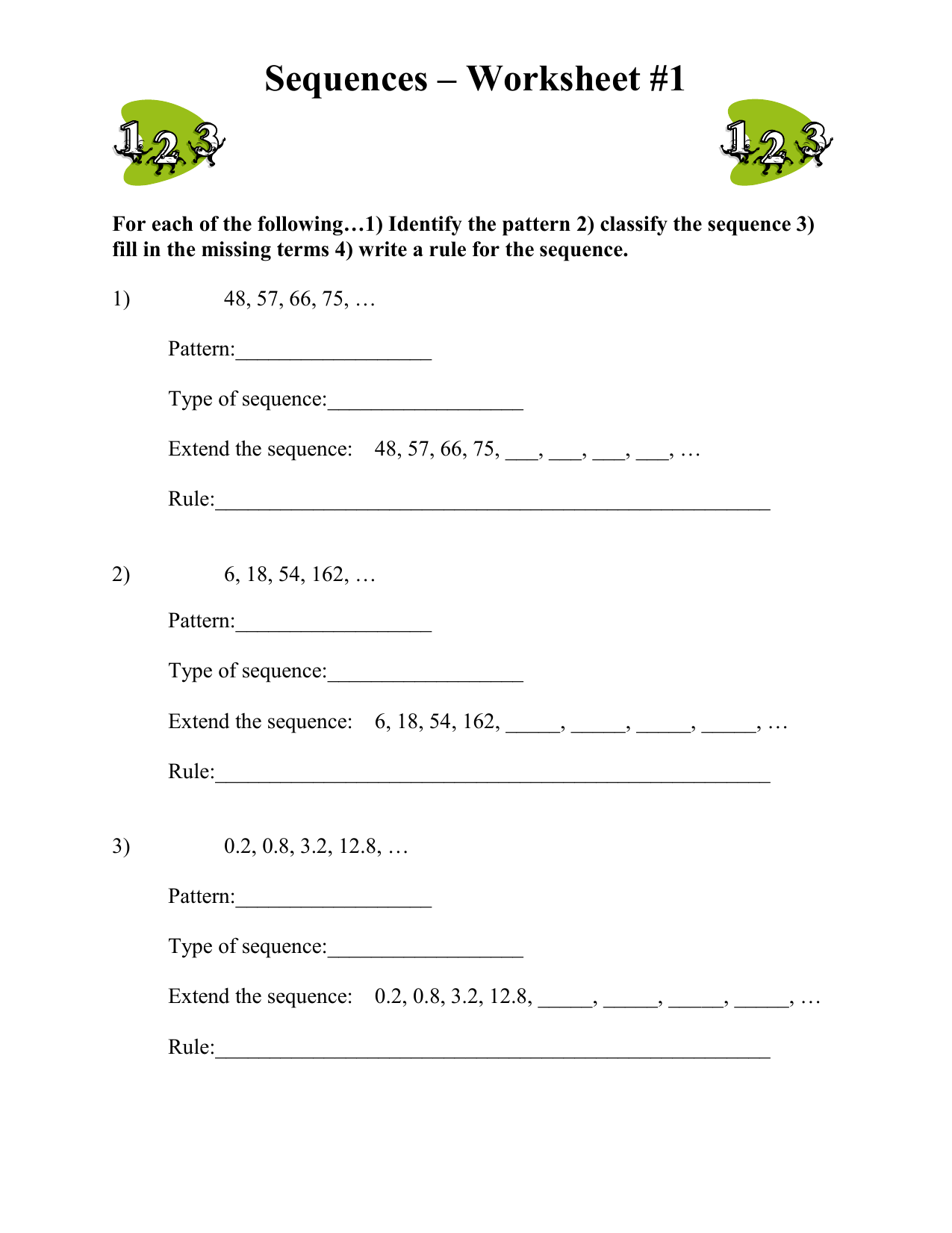 Sequences Worksheet 1 For Each Of The Following 1
