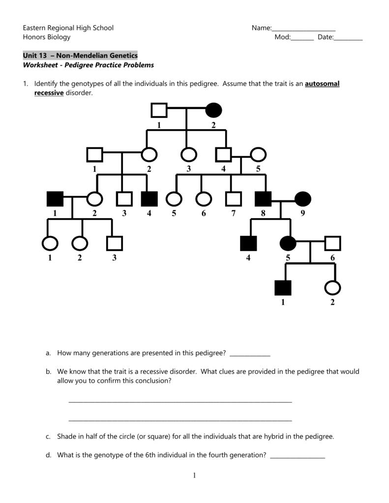 hight resolution of Worksheet - Pedigree Practice Problems
