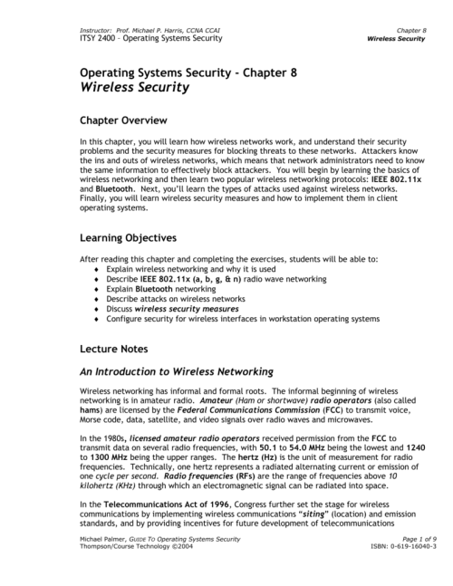 small resolution of michael p harris ccna ccai itsy 2400 operating systems security chapter 8 wireless security operating systems security chapter 8 wireless security