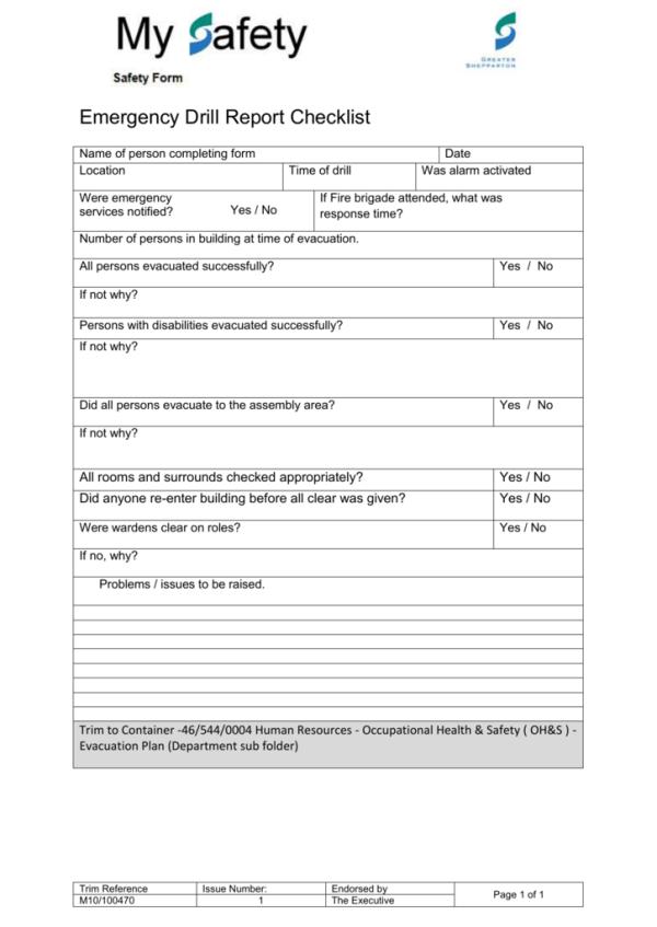 Emergency Drill Checklist