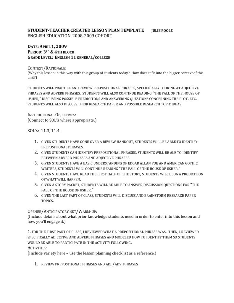 medium resolution of Adjective Adverb Phrase Lesson Plan