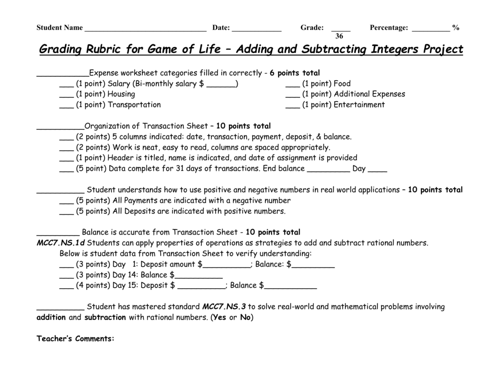 Grading Rubric For Game Of Life Adding And Subtracting Integers