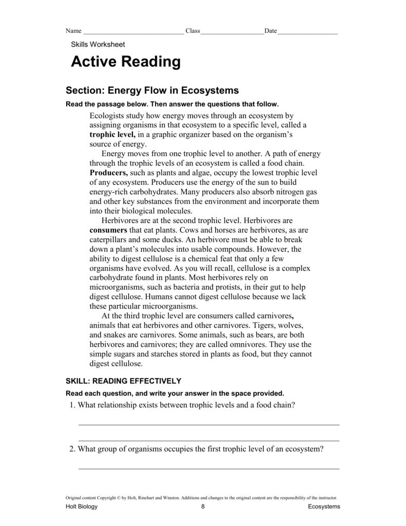 hight resolution of Energy Flow In An Ecosystem Worksheet - Worksheet List