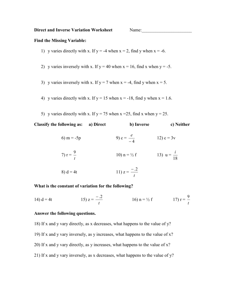 hight resolution of 2: Direct and Inverse Variation Worksheet