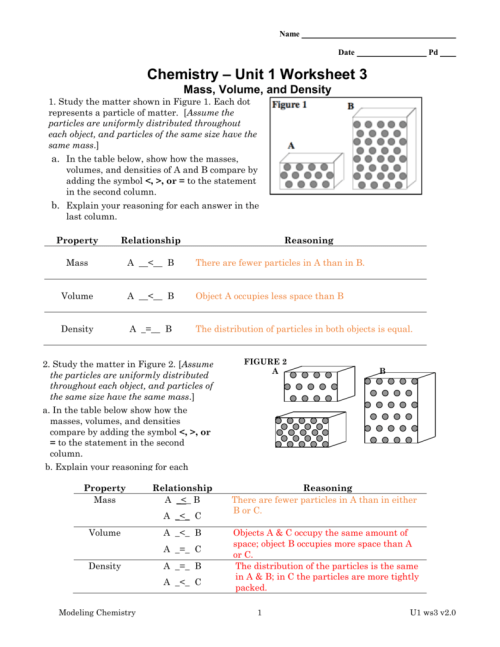small resolution of Chemistry Unit 1 Worksheet 3 Answers Mass Volume And Density - Worksheet  List