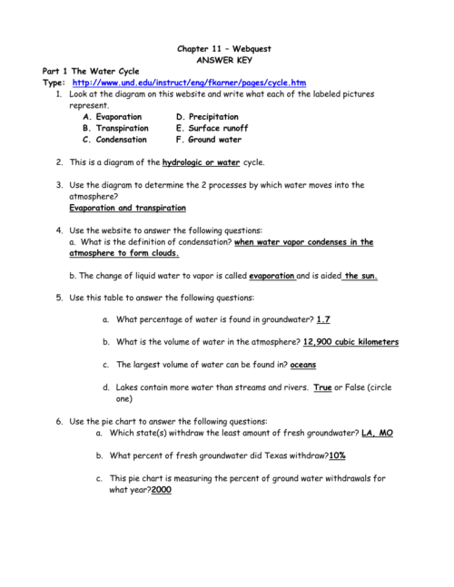 small resolution of chapter 11 webquest answer key part 1 the water cycle type http www und edu instruct eng fkarner pages cycle htm 1 look at the diagram on this website