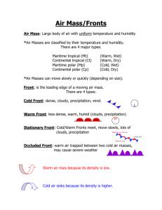 Air Mass Worksheet Answer Key : worksheet, answer, Masses, Fronts