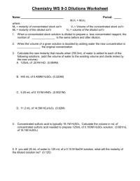 Dilutions Worksheet. Worksheets. Ratchasima Printable ...