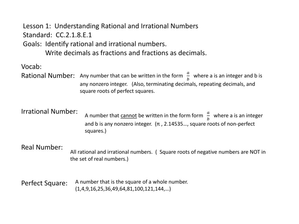 Lesson 1 Understanding Rational And Irrational Numbers Standard