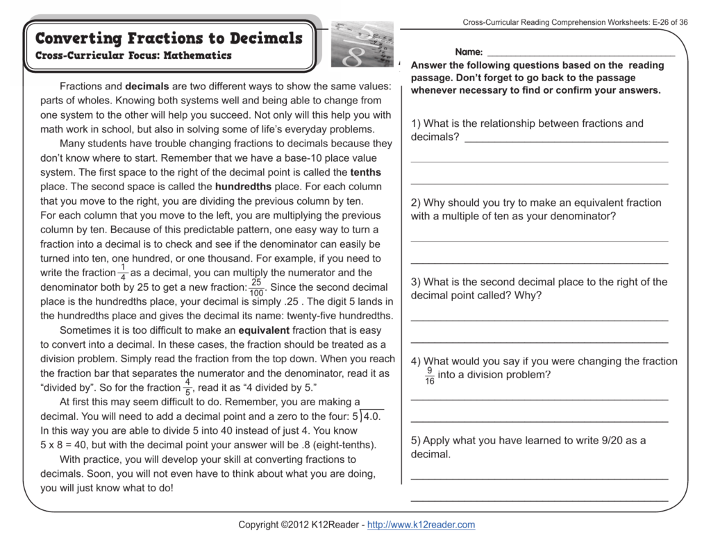 Printables Of Cross Curricular Reading Comprehension Worksheets
