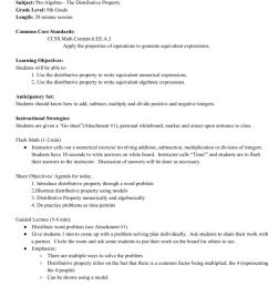 Lesson Plan Subject: PreAlgebra The Distributive Property Grade [ 1024 x 791 Pixel ]
