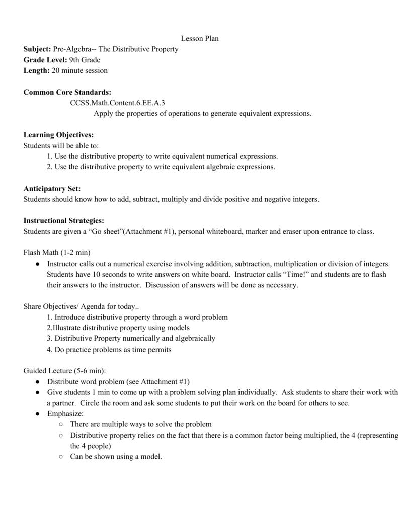medium resolution of Lesson Plan Subject: PreAlgebra The Distributive Property Grade