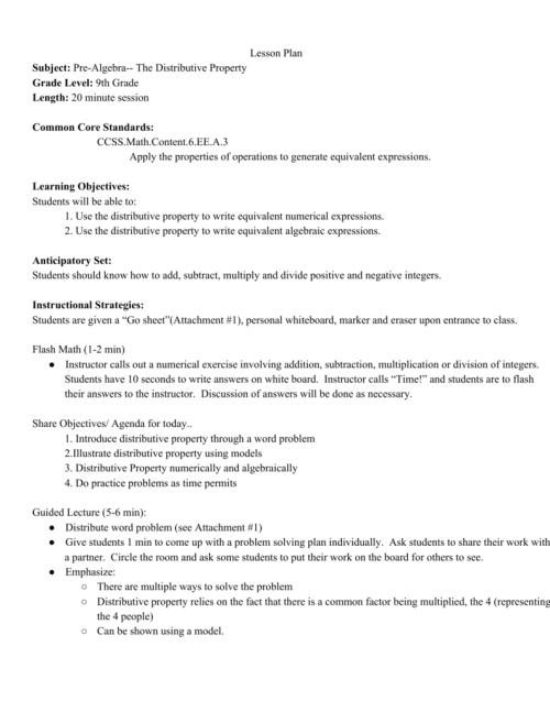 small resolution of Lesson Plan Subject: PreAlgebra The Distributive Property Grade