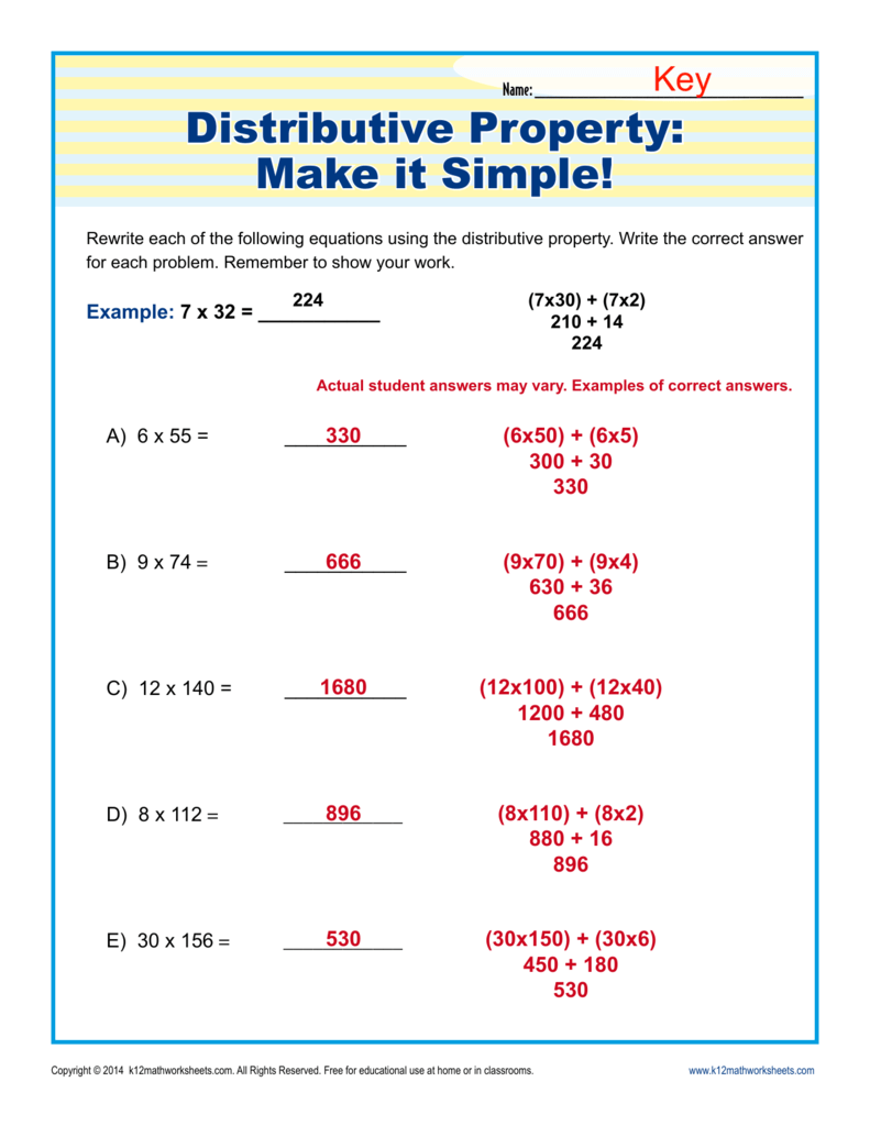 hight resolution of Distributive Property: Make It Simple!   3rd Grade Math Worksheets