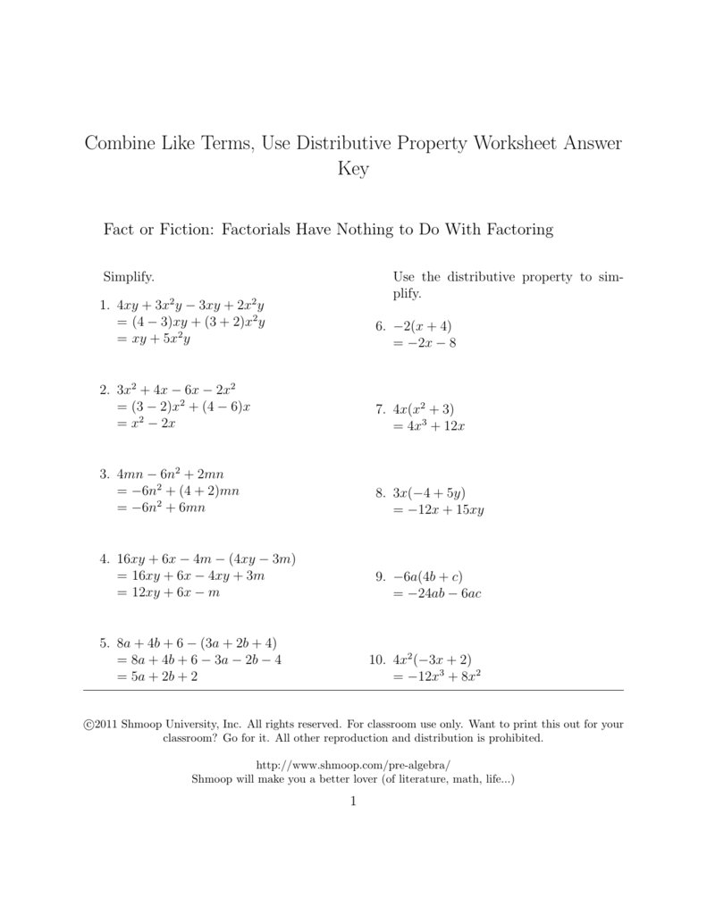 hight resolution of Combine Like Terms And Distributive Property Worksheet -  Promotiontablecovers