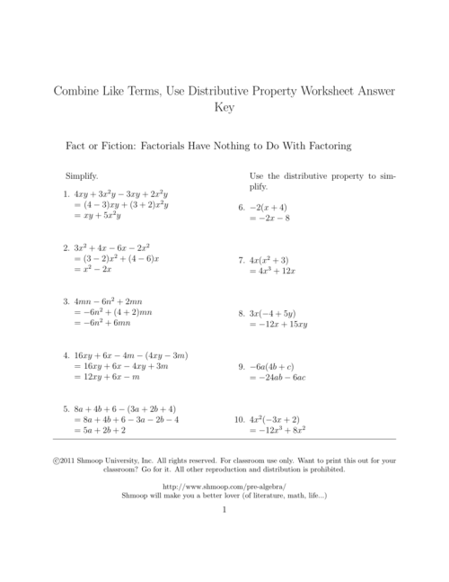 small resolution of Combine Like Terms And Distributive Property Worksheet -  Promotiontablecovers