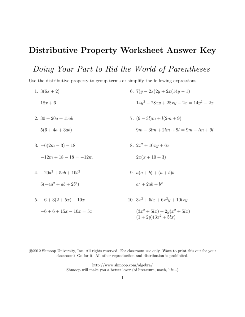 hight resolution of The Distributive Property Worksheet Answers - Promotiontablecovers