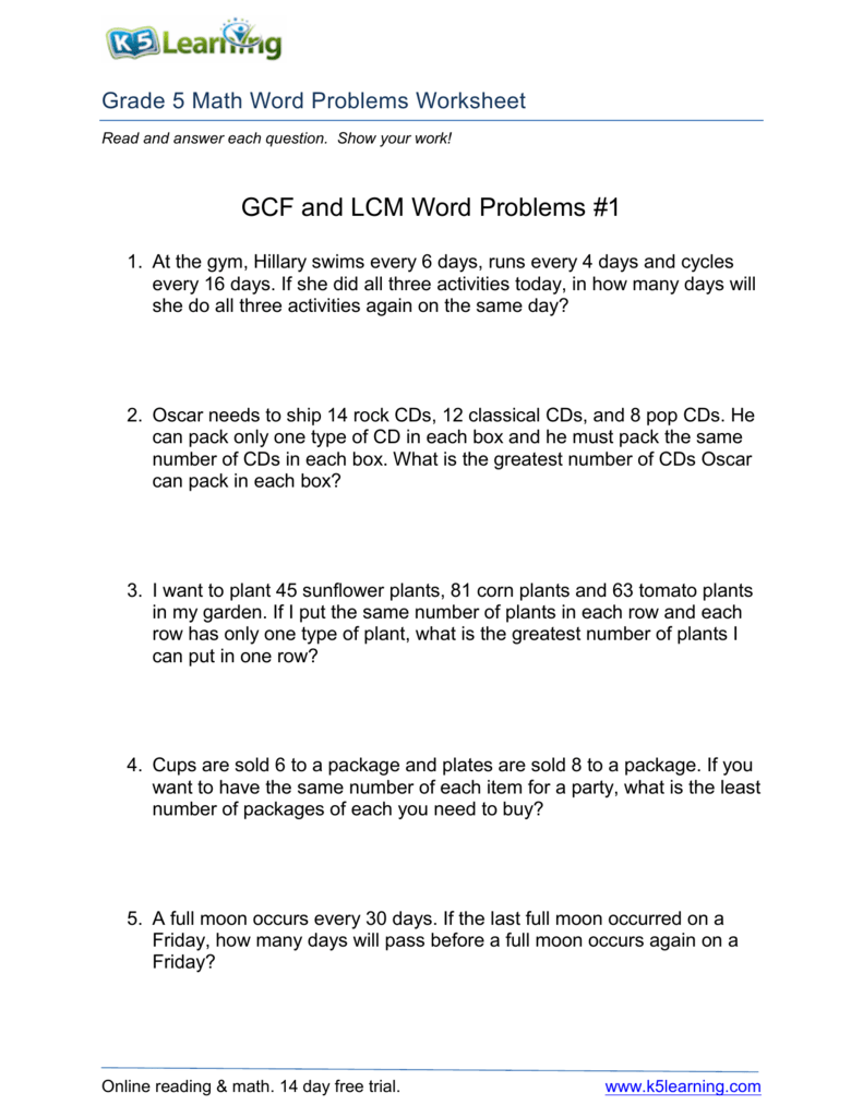 medium resolution of GCF and LCM Word Problems #1
