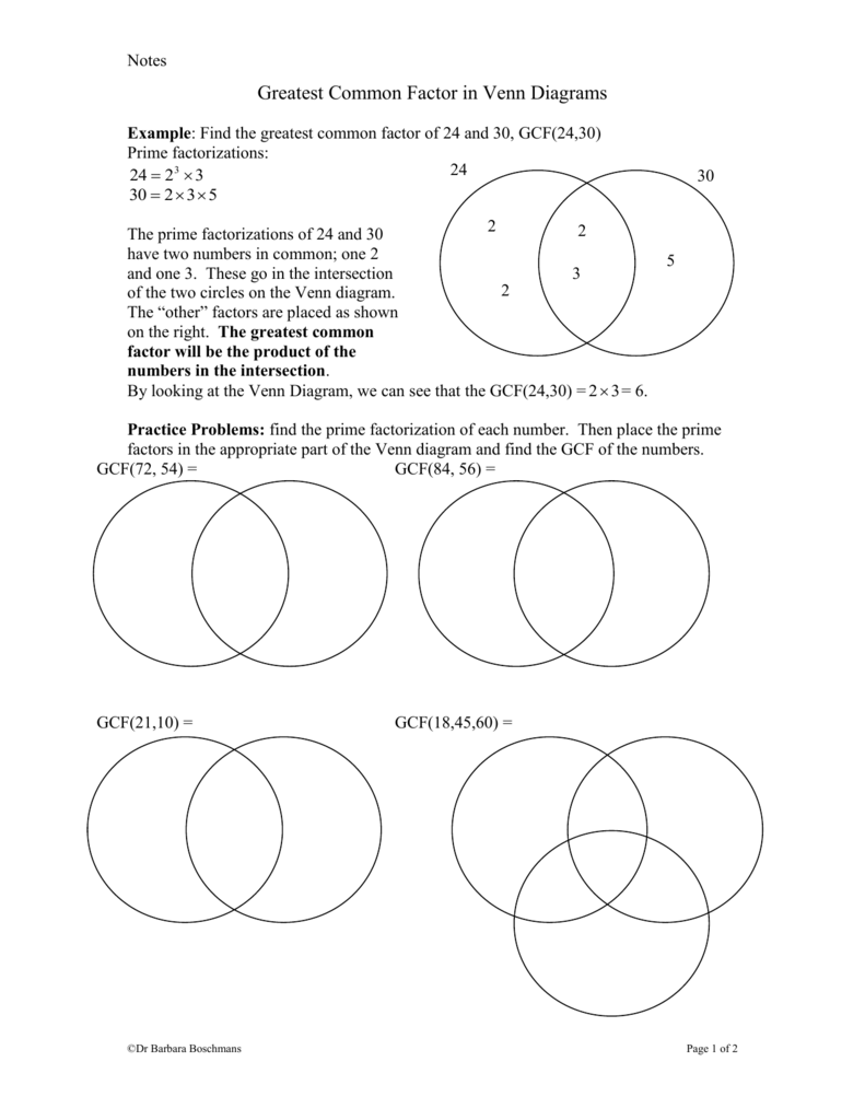 hight resolution of notes greatest common factor in venn diagrams example find the greatest common factor of 24 and 30 gcf 24 30 prime factorizations 24 24 2 3 3 30