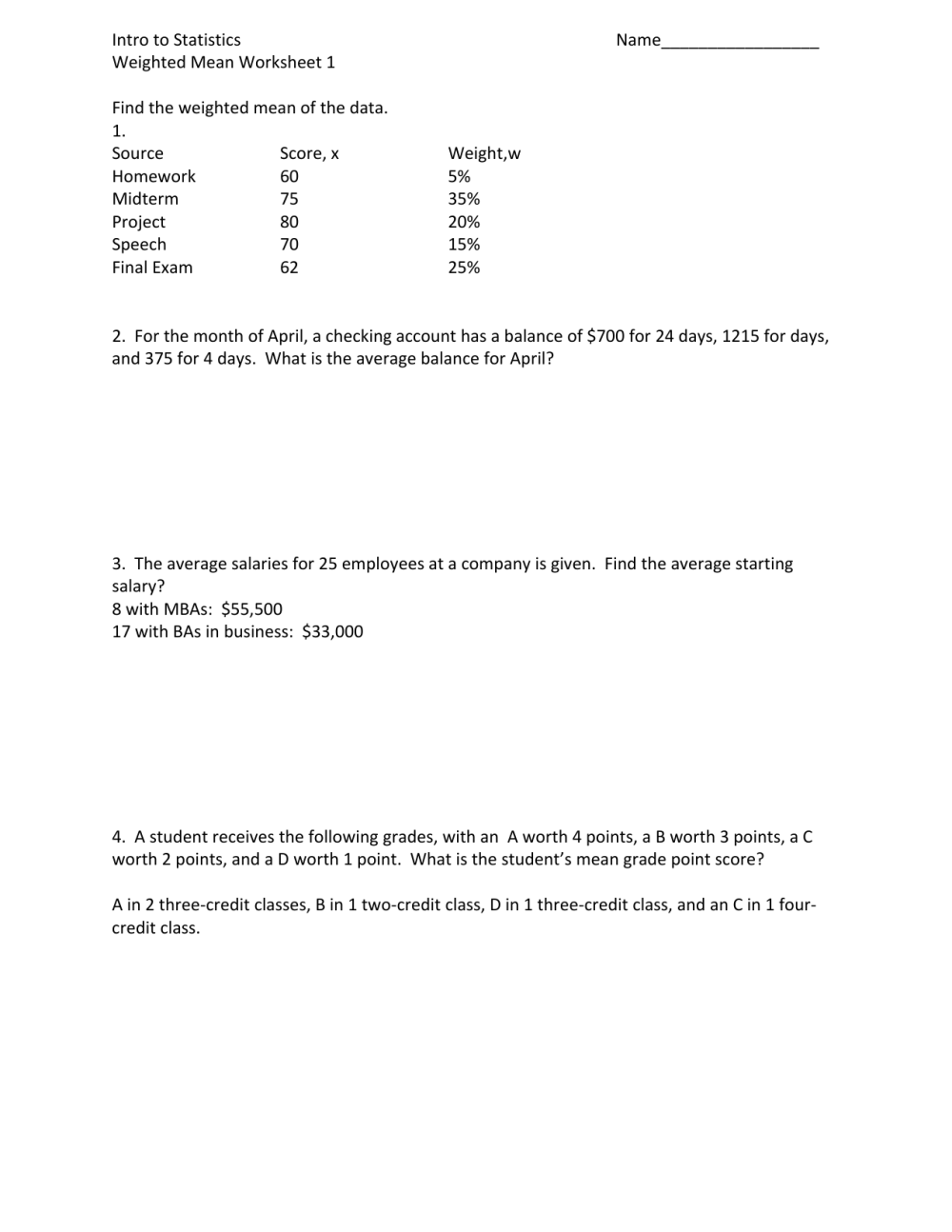 medium resolution of Weighted Means Worksheet 1