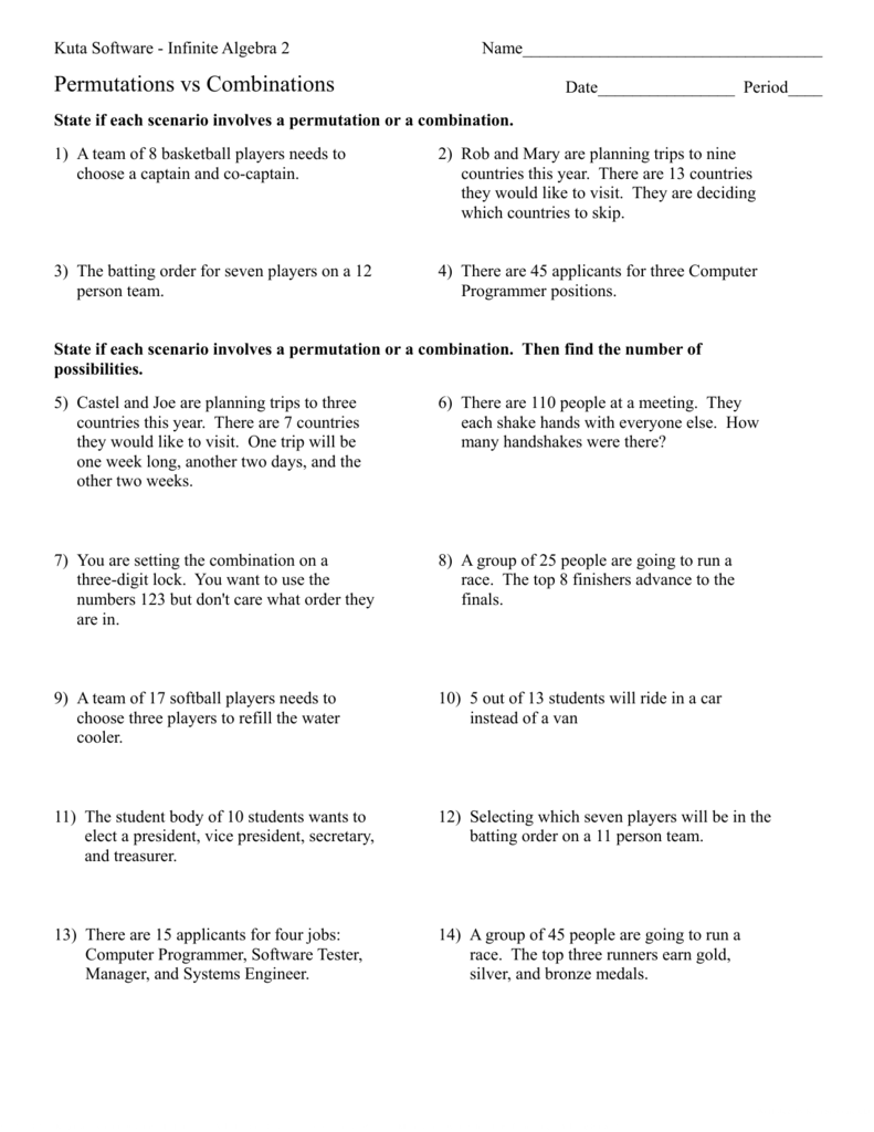 hight resolution of Permutations And Combinations Worksheet Answers - Worksheet List
