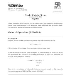 Grade 6 Math Circles Algebra Order of Operations (BEDMAS) [ 1024 x 791 Pixel ]