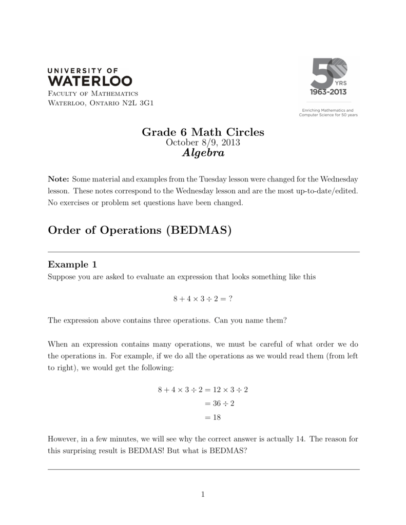 hight resolution of Grade 6 Math Circles Algebra Order of Operations (BEDMAS)