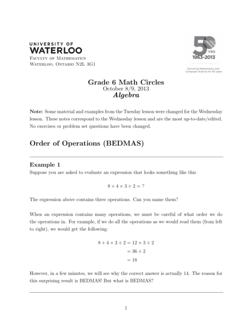 small resolution of Grade 6 Math Circles Algebra Order of Operations (BEDMAS)