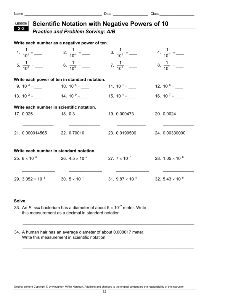 hight resolution of Scientific Notation with Negative Powers of 10