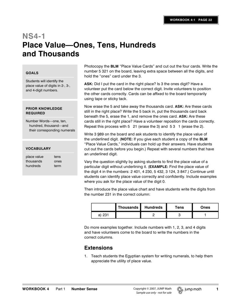 medium resolution of NS4-1 Place Value—Ones