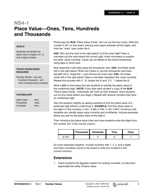 small resolution of NS4-1 Place Value—Ones