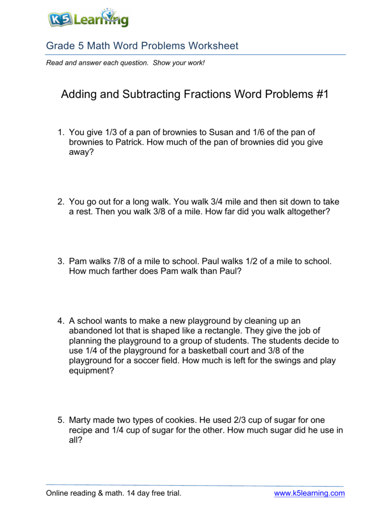 hight resolution of Adding and Subtracting Fractions Word Problems #1