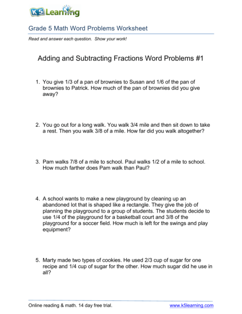 small resolution of Adding and Subtracting Fractions Word Problems #1