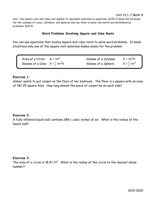 small resolution of Square Roots And Cube Roots Worksheet With Answers - Worksheet List
