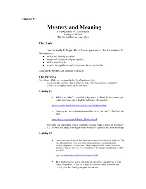 small resolution of Handout 1 Mystery and Meaning Webquest.doc