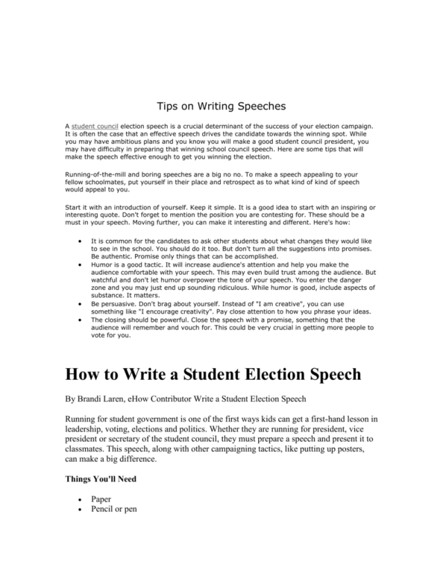 Vote for me speeches for student council, Student Council Speech