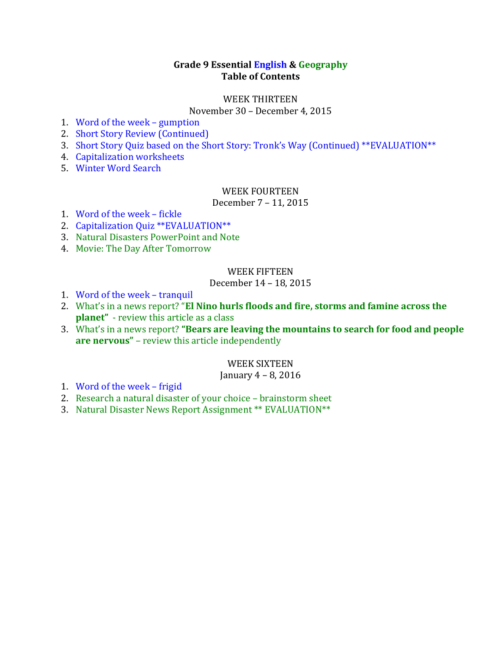 small resolution of Grade 9 Essential English \u0026 Geography Table of Contents WEEK